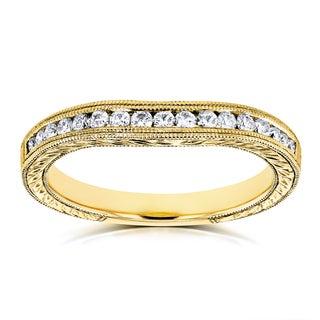 Annello by Kobelli 14k Yellow Gold 1/5ct Diamond Contoured Wedding Band Ring (G-H, I1-I2)