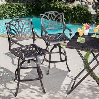 Jayden Outdoor Cast Aluminum Swivel Barstool (Set of 2) by Christopher Knight Home