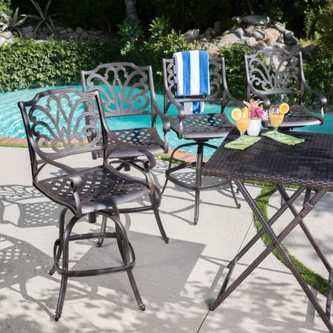 Jayden Outdoor Cast Aluminum Swivel Bar Stool (Set of 4) by Christopher Knight Home