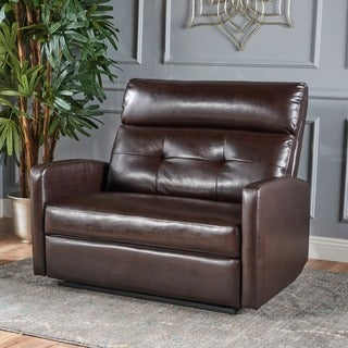 Halima Faux Leather 2-Seater Recliner Club Chair by Christopher Knight Home