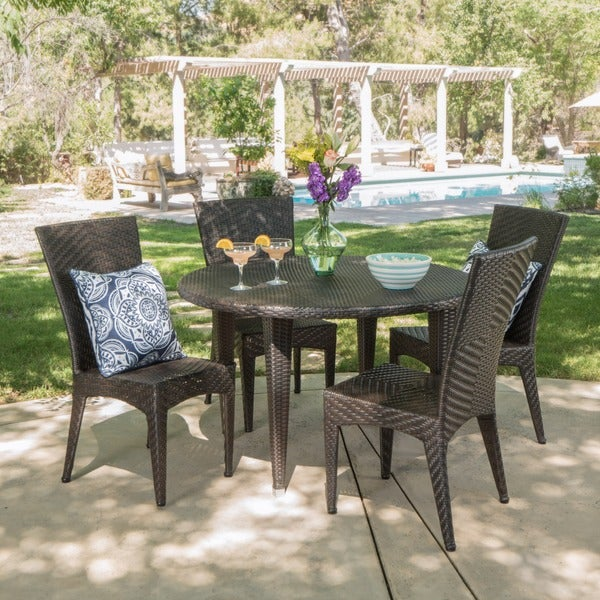 Jerry Outdoor 5-piece Round Dining Set by Christopher Knight Home