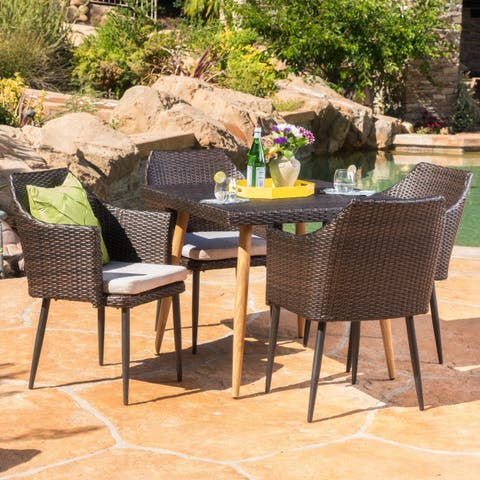 Jay Outdoor 5-piece Square Dining Set with Umbrella Hole & Cushions by Christopher Knight Home
