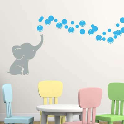 Grey Elephant with Colored Bubbles Vinyl Nursery Room Wall Decal