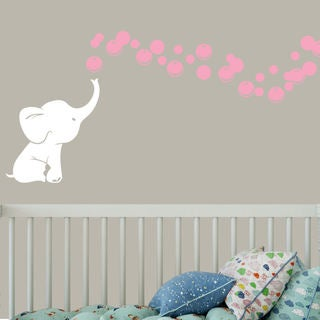 White Elephant with Colored Bubbles Vinyl Nursery Room Wall Decal