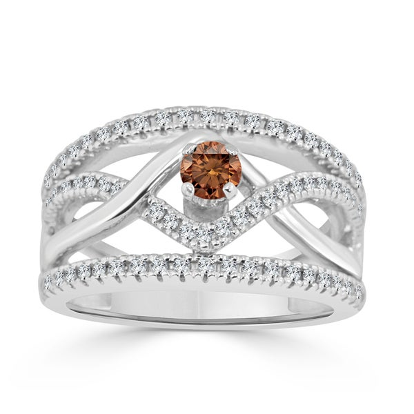 Auriya 14k Gold 2/5ct TDW Braided Brown Diamond Engagement Ring