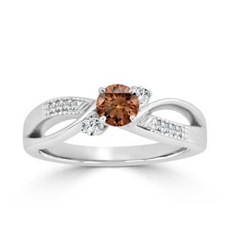 Auriya 14k Gold 1/2ct TDW Bypass Brown Diamond Engagement Ring