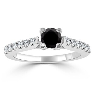 Auriya 14k Gold 3/4ct TDW Round Black Diamond Engagement Ring