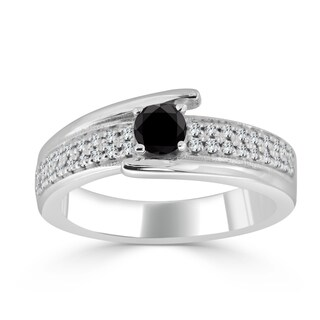 Auriya 14k Gold 1/2ct TDW Black Round Diamond Engagement Ring