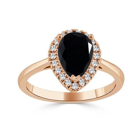 Auriya 1 2/3ctw Pear Shaped Halo Black Diamond Engagement Ring 14k Gold