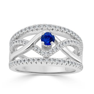 Auriya 14k Gold 1/4ct Blue Sapphire and 1/6ct TDW Braided Diamond Engagement Ring