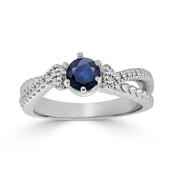 Auriya 14k Gold 2/5ct Blue Sapphire and 1/6ct TDW Round Diamond Engagement Ring