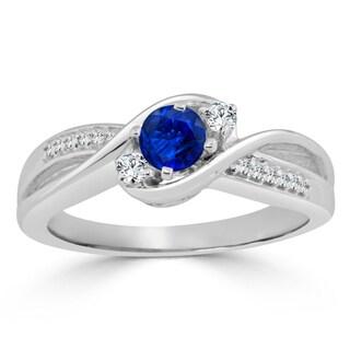 Auriya 14k Gold 2/5ct Blue Sapphire and 1/10ct TDW Round Diamond Engagement Ring