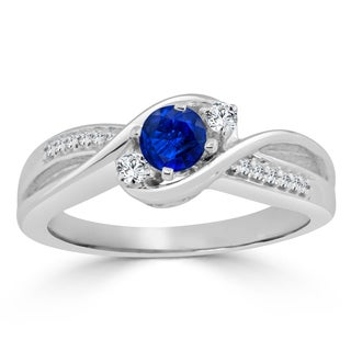 14k Gold Three-Stone 2/5ct Blue Sapphire and 1/10ct TDW Diamond Engagement Ring by Auriya