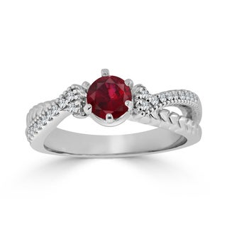Auriya 14k Gold 2/5ct Ruby and 1/6ct TDW Round Diamond Engagement Ring - Red