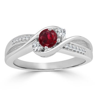 Auriya 14k Gold 2/5ct Ruby and 1/10ct TDW Round Diamond Engagement Ring - Red