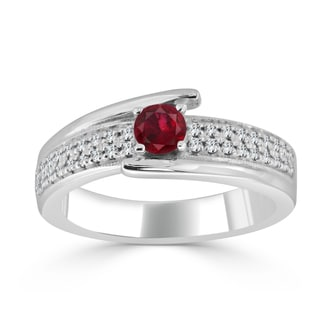 Auriya 14k Gold 1/3ct Ruby and 1/5ct TDW Round Diamond Engagement Ring