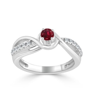 Auriya 14k Gold 1/4ct Ruby and 1/5ct TDW Round Diamond Engagement Ring - Red