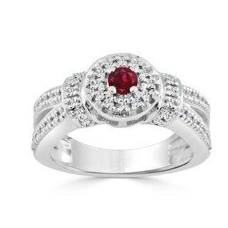 Auriya 14k Gold 1/6ct Ruby and 2/5ct TDW Round Diamond Halo Engagement Ring