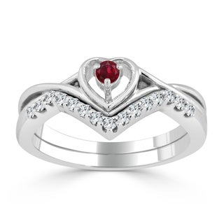 Auriya 14k Gold 1/10ct Ruby and 1/5ct TDW Diamond Accent Heart Wedding Ring Set