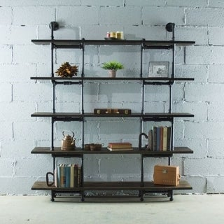 Eugene Modern Industrial 64-inch wide large storage 5-shelf Metal and Reclaimed Aged Wood Finish Pipe bookcase