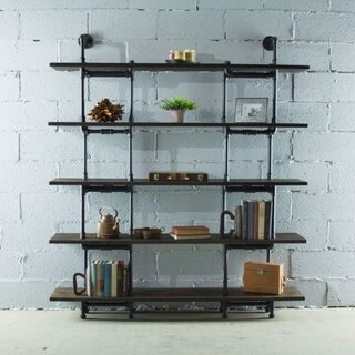 Eugene Modern Industrial 64-inch wide large storage 5-shelf Metal and Reclaimed Aged Wood Finish Pipe bookcase (3 options available)