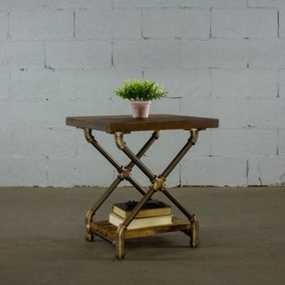 Houston Industrial Metal with Reclaimed Aged Wood Finish Vintage Pipe End Table
