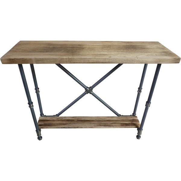 Genial Houston Industrial Vintage Metal And Reclaimed Aged Wood Finish 2 Tier Pipe  Hall Table