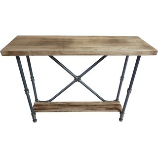 Houston Industrial Vintage Metal and Reclaimed Aged Wood Finish 2-tier Pipe Hall Table