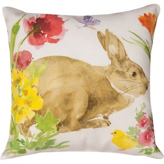 Manual Woodworkers Collins Garden Bunny and Chick Multicolored 18-inch Throw Pillow