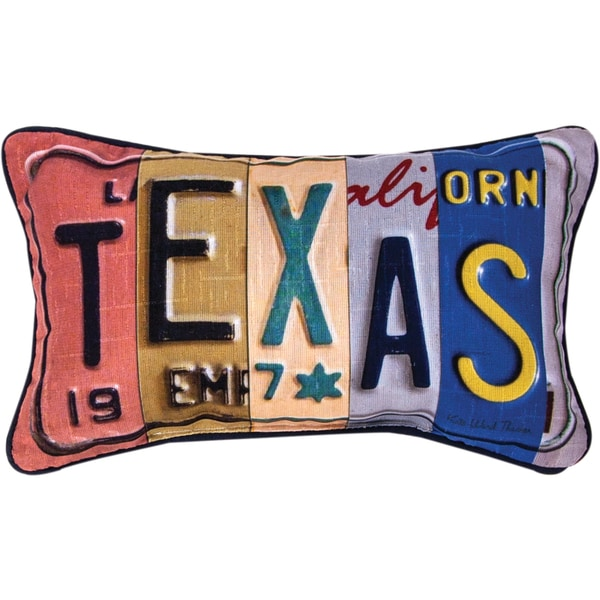 Manual Woodworkers Texas Word Dye Multicolored Throw Pillow