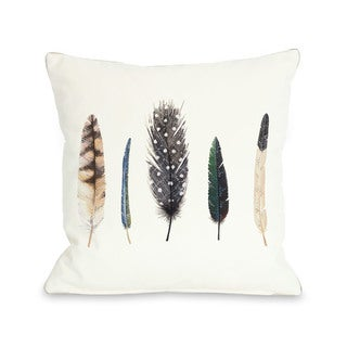 Feathers 1 - Blue Multi 16 or 18 Inch Throw Pillow by Ana Victoria Calderon