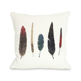 Feathers 2 - Red Multi 16 or 18 Inch Throw Pillow by Ana Victoria Calderon