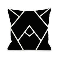 Mountain Peaks - Black White 16 or 18 Inch Throw Pillow by OBC