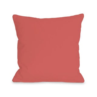 Solid - Dark Coral 16 or 18 Inch Throw Pillow by OBC