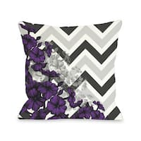 Amber Chevron Floral - Purple 16 or 18 Inch Throw Pillow by OBC