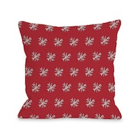 Starry Eyed Snowflakes - Red Grey 16 or 18 Inch Throw Pillow by Timree