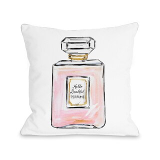 Hello Beautiful Perfume/Multiple Perfumes - White Pink Gold 16 or 18 Inch Throw Pillow by Timree (2 options available)