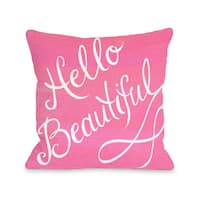 Hello Beautiful/Pink Bow - Pink White 16 or 18 Inch Throw Pillow by Timree