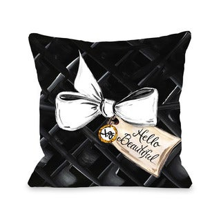 Hello Beautiful Bow/Gold Glitter - Black White 16 or 18 Inch Throw Pillow by Timree