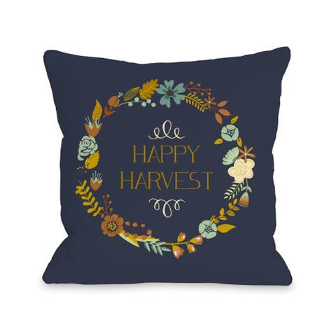 Happy Harvest Wreath - Navy Multi 16 or 18 Inch Throw Pillow by OBC