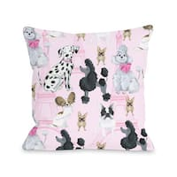 Dogs Eiffel Tower - Pink Multi 16 or 18 Inch Throw Pillow by Pinklight Studio - April Heather Art