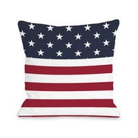 American Flag Section - Multi 16 or 18 Inch Throw Pillow by OBC