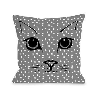 Cat Face Dots - Grey 16 or 18 Inch Throw Pillow by OBC