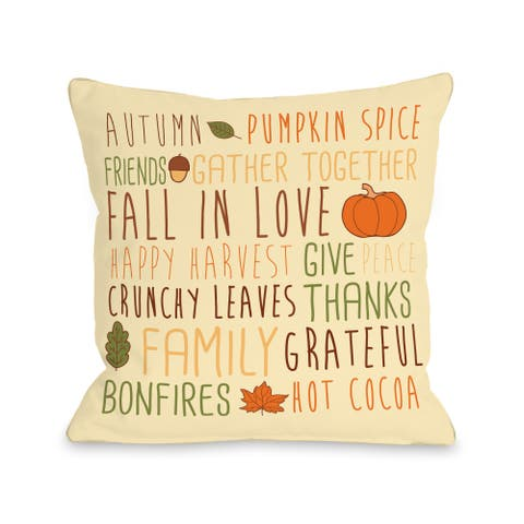 Harvest Word Collage - Cream Multi 16 or 18 Inch Throw Pillow by OBC