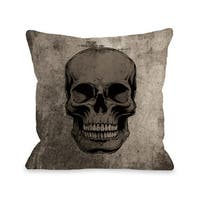 Skull Grunge - Grey 16 or 18 Inch Throw Pillow by OBC