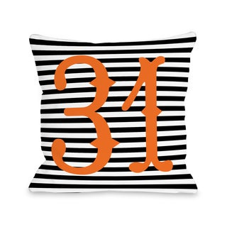 31st of October - Black White Orange 16 or 18 Inch Throw Pillow by OBC