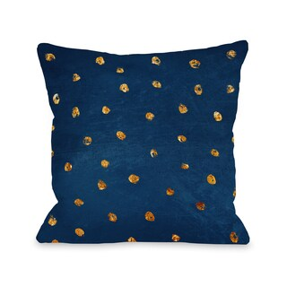 Jenny - Blue Gold 16 or 18 Inch Throw 16 or 18 Inch Throw Pillow by OBC