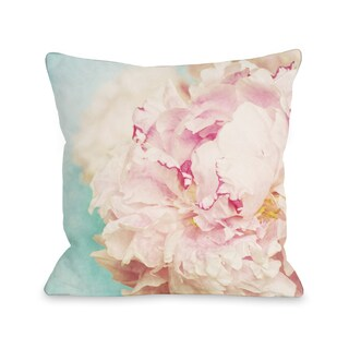 Delicate Peony - Turquoise Pink 16 or 18 Inch Throw Pillow by OBC