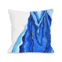 Bold Formations - Blue - Blue 16 or 18 Inch Throw Pillow by lezleelliott