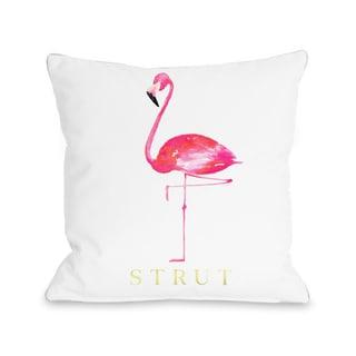 Flamingo Strut - White Pink - White Pink 16 or 18 Inch Throw Pillow by lezleelliott